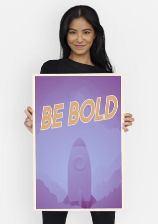 yourself: People holding aspiration word quote banner board