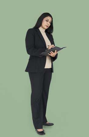 Indian Asian Woman Business Notebook Concept Stock Photo