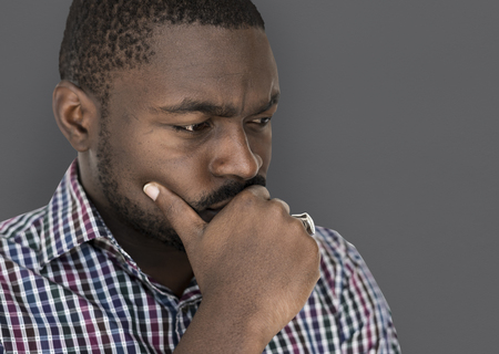 African descent man is feeling nervous Stock Photo - 79377858
