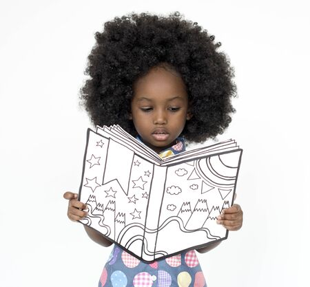 Little Girl Reading Book Education Togetherness Studio Portrait