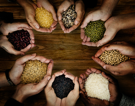 Group of hands holding healthy food agricultural product Stock fotó