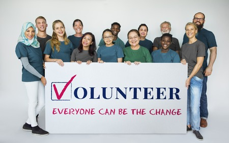 Group of diversity people with volunteer board support