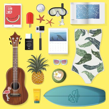 Summer Stuff Set Collection Vector Illustration