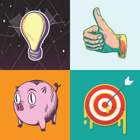 Idea Target Savings Goals Business Investment Graphic Illustration Icon Vector