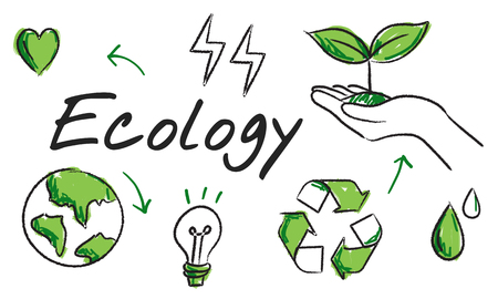 Ecology Green Energy Planet Diagram Word Imagens