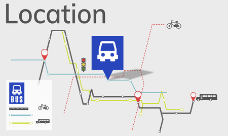 Map Route Trip Transportation Location Guide Imagens