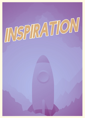 Word about inspiration and good attitude with rocket graphic Stock Photo - 79595310