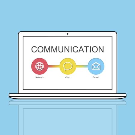 Laptop with communication concept Archivio Fotografico - 113368243