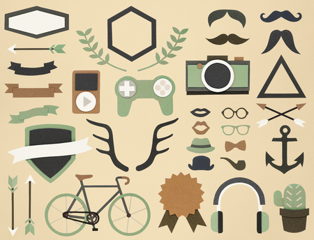 interesting music: Variety of hipster hoobies activity icons