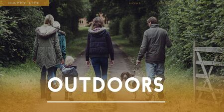 suburban: Family Outdoors Suburban Together Words Stock Photo