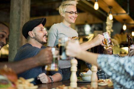 People Enjoy Food Drinks Party Restaurant Stock Photo