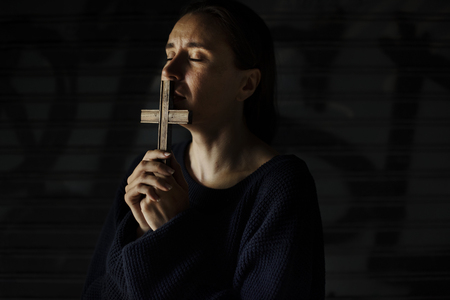 Adult Woman Hands Holding Cross Praying for God Religion Stock Photo