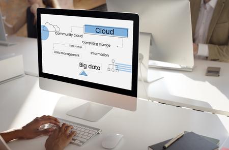 Illustration of cloud computing data management Stok Fotoğraf