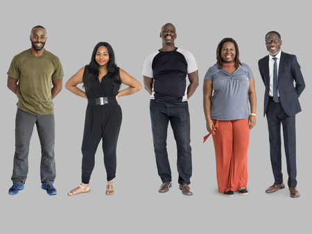 Group of African Descent People Together Set Studio Isolated Stock Photo