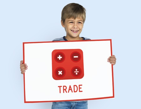 Boy holding banner financial trading investment calculating illustration Imagens