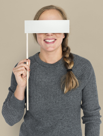 Caucasian Woman Holding Flag Covering Eyes