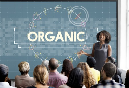 Woman presenting about organic topics