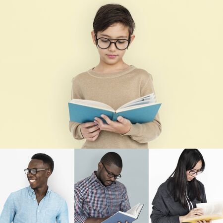 Set of diversity people reading education lifestyle 版權商用圖片