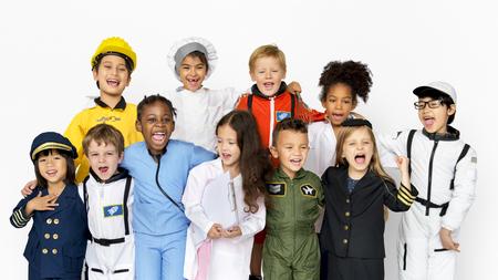 Group of Diverse Kids Wearing Career Costume Studio Portrait