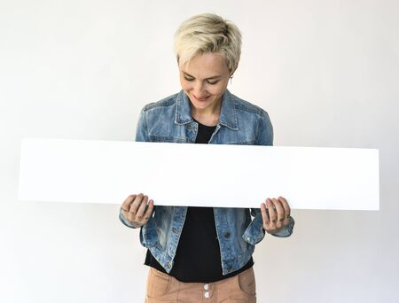 sited: Woman Hands Hold Show Blank Box Banner
