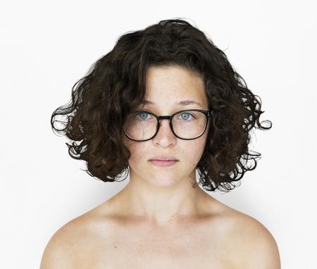 Joven, mujer, topless, estudio, retrato Foto de archivo - 79732583