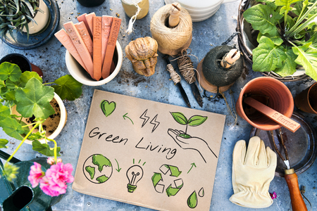 Planting and gardening aerial with environmental banner