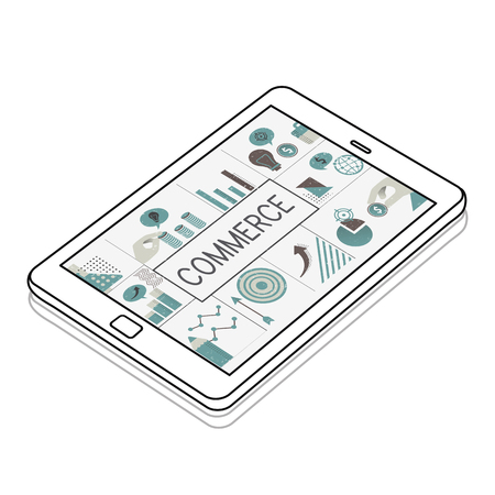 Illustratie van financiële bedrijfsgrafiekinvestering op digitale tablet