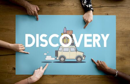 Hnads with illustration of discovery journey road trip traveling banner Stock Photo