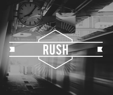 Train Station Platform Rush Hour Black and White Style