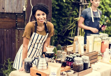 Woman with Coffee Fresh Brew Stall Shop Stock Photo