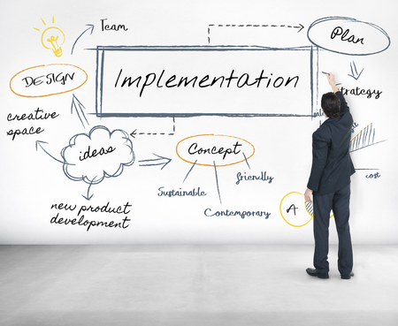 Man with implementation concept