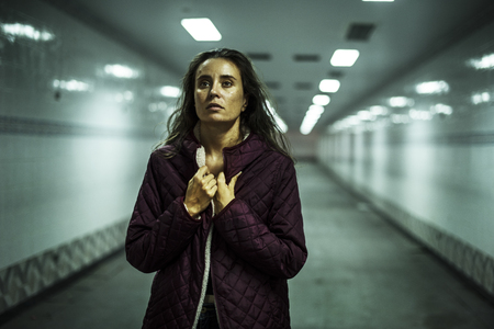 Adult Woman Walk Hopeless in Walkway