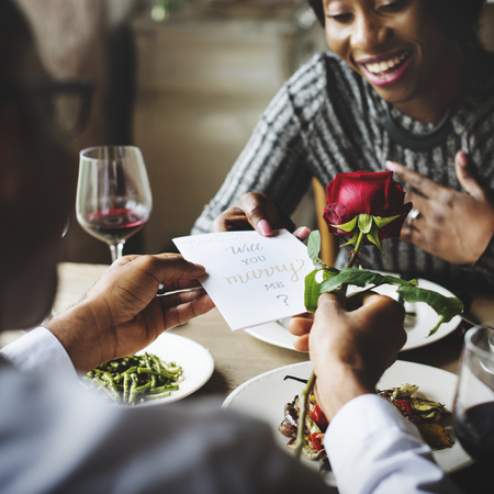 drink me: Romantic Man Giving Will You Marry Me Card with a Rose to Propose Woman