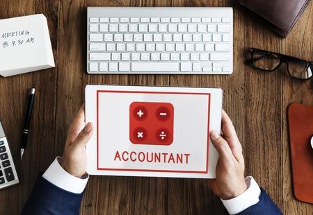Accountant Wiskunde Financiële Handel Berekenen Stockfoto - 79643604