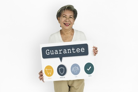 Senior woman with guarantee concept