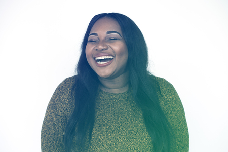 African Woman Laughing Face Expression Portrait Studio