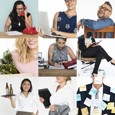 Collage of people job occupation mixed Stock Photo