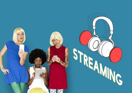 using tablet: Music entertainment headphones icon graphic