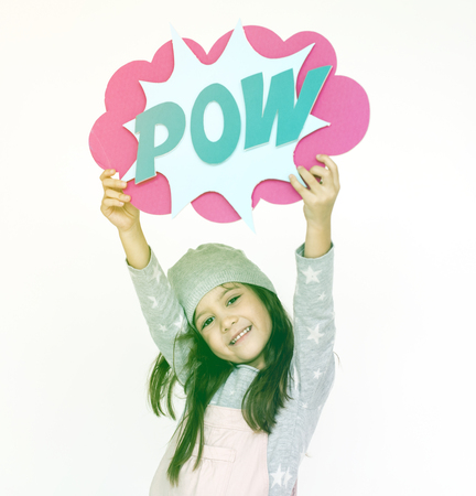 Young girl stand and holding banner Stock Photo