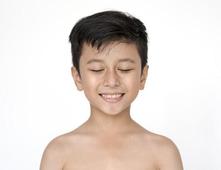 Kid Shirtless Topless Natural Race Studio Shoot Imagens
