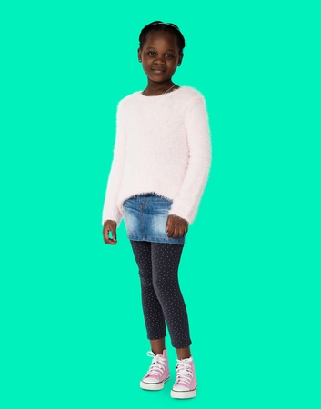 black sweater: Young black girl with a sad expression on her face portrait Stock Photo