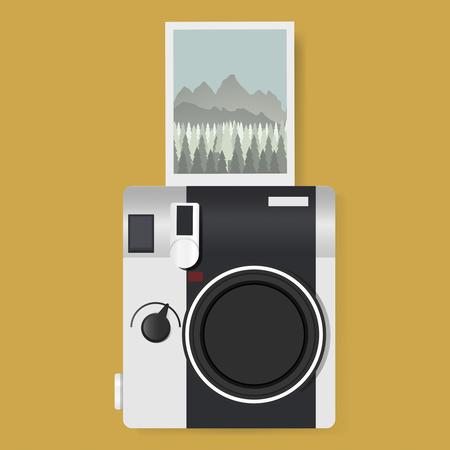 Camera with Captured Photo Graphic Illustration Vector Illustration