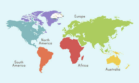 World Continent Map Location Graphic Illustration