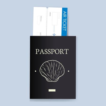 Passport with ticket vector illustration