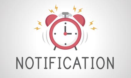 illustration of alarm clock icon notification Banco de Imagens