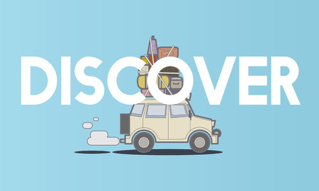 Illustration of discovery journey road trip traveling
