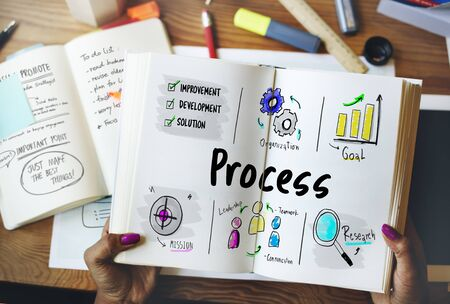 Business Implementation Process Workflow Stockfoto - 79906224