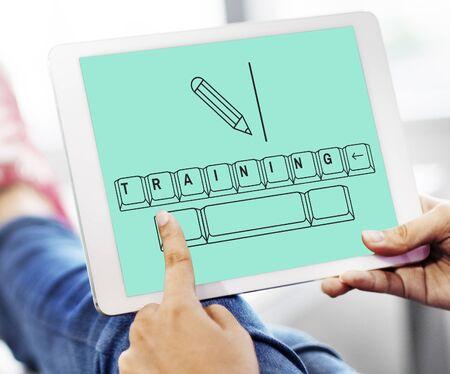 洞察力教育キーボード入力の図 写真素材