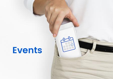 携帯電話で個人オーガナイザー カレンダーのイラスト