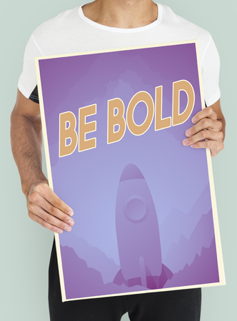 People holding aspiration word quote banner board Stock Photo - 80029951